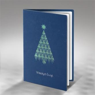 Kartka Świąteczna Zielono - Srebrna Choinka FS744ng