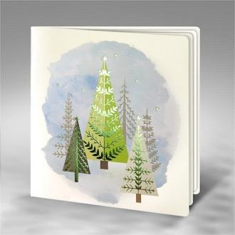 Kartka Świąteczna z Motywem Choinek FS741