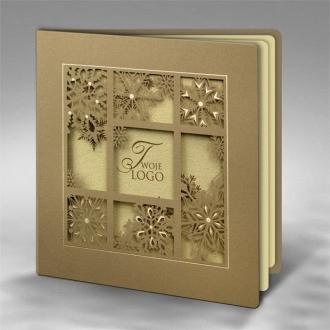 Kartka Świąteczna z Wyciętym Motywem Śnieżynek FS755
