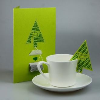 Kartka Świąteczna z Torebką Herbaty E15-06