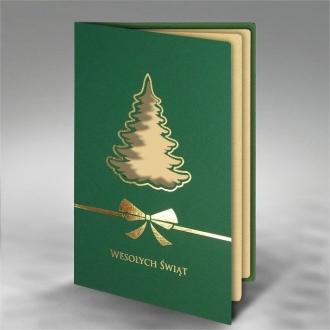 Kartka Świąteczna z Prostym Motywem Choinki FS866zl