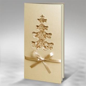 Kartka Świąteczna Choinka z Beżową Kokardą FS552p