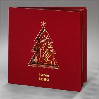 Kartka Świąteczna Choinka z Motywem Układu Scalonego FS679bg