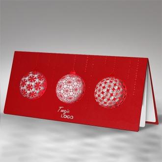 Kartka Świąteczna z Trzema Wyciętymi Bombkami FS629cs
