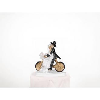Figurka Na Tort Weselny Para Młoda na Rowerze