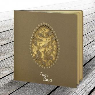 Kartka Świąteczna w Kolorze Złotym z Pisanką W607