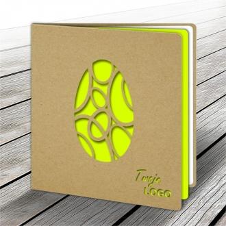Kartka Świąteczna z Żółtym Jajkiem Wyciętym Laserowo W573