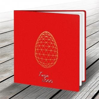 Kartka Świąteczna z Nowoczesnym Motywem Złotego Jajka W561