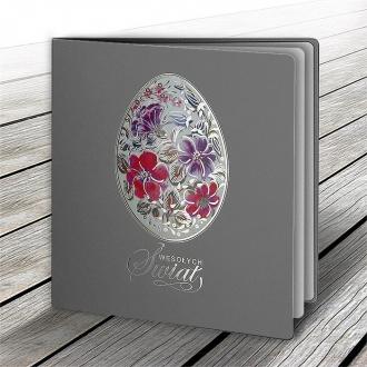 Kartka Świąteczna z Motywem Pisanki w Kolorowe Kwiaty W625