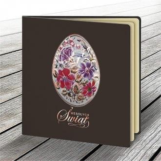 Kartka Świąteczna z Motywem Pisanki w Kolorowe Kwiaty W627
