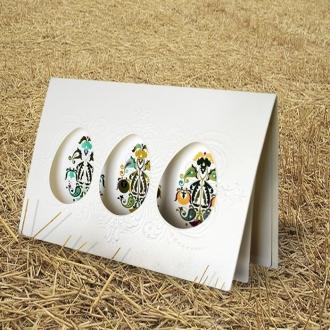 Kartka Świąteczna z Trzema Jajkami Wyciętymi Laserowo W355