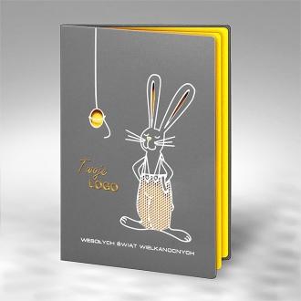 Kartka Świąteczna z Zabawnym Motywem Zająca W466