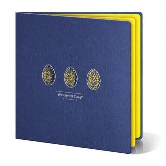 Kartka Świąteczna z Trzema Żółtymi oraz Wyciętymi Laserowo Pisankami W262