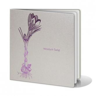 Kartka Świąteczna z Motywem Krokusa w Kolorze Fioletowym W207