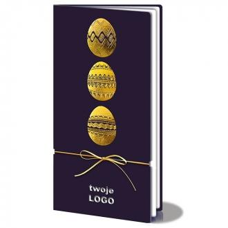 Kartka Świąteczna z Motywem Trzech Złotych Pisanek i Złotym Sznurkiem W120
