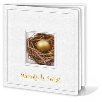 Kartka Świąteczna Motyw Gniazda z Jajkiem w Wyciętym Okienku W172