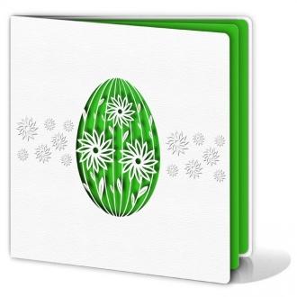 Kartka Świąteczna z Wyciętą Laserowo Pisanką w Kolorze Zielonym W152