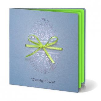 Kartka Świąteczna z Pisanką Bogato Ozdobioną Elementami Wielkanocnymi W217