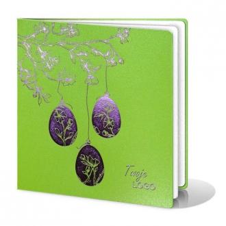 Kartka Świąteczna z Trzema Pisankami Wiszącymi na Gałązkach Drzewa W235