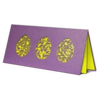 Kartka Świąteczna Trzy Pisanki z Motywem Kwiatowym Wycięte Laserowo W253