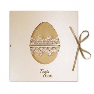 Kartka Świąteczna Wycięta Pisanka z Wzorem Ażurowym W244