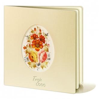 Kartka Świąteczna Wycięte Laserowo Jajko z Motywem Kolorowych Kwiatów W245