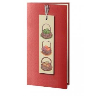 Kartka Świąteczna z Aplikacją Przedstawiającą Trzy Koszyczki z Pisankami W5