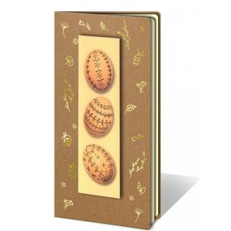 Kartka Świąteczna z Aplikacją Przedstawiającą Trzy Pisanki W66
