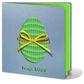 Kartka Świąteczna Wycięta Laserowo Pisanka z Żółtą Wstążeczką W104