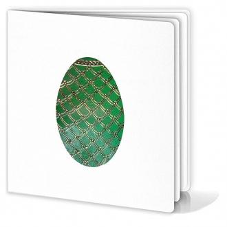 Kartka Świąteczna Motyw Zielonej Pisanki ze Złotymi Wzorkami W161