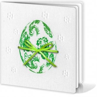 Kartka Świąteczna Motyw Pisanki z Zieloną Wstążeczką W141
