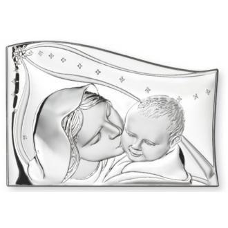 Srebrny Obrazek Matka Boska całująca dzieciątko 7x10cm