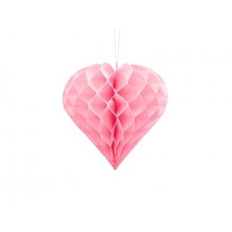Serce bibułowe, jasny różowy, 20cm