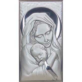 Srebrny Obrazek Maryja tuląca dzieciątko 7x12cm