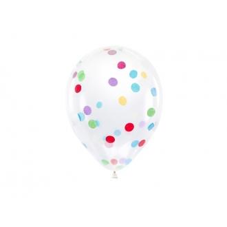 Balony z okrągłym konfetti, 30cm, mix (1 op. / 6 szt.)