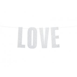 Baner Love, srebrny, 21x55cm