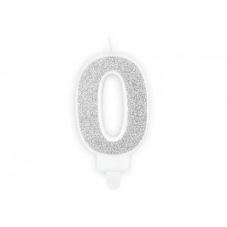 Świeczka urodzinowa Cyferka 0, srebrny