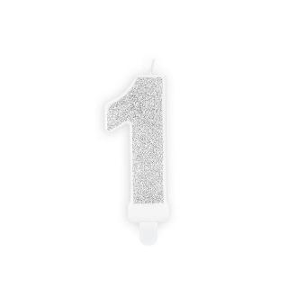 Świeczka urodzinowa Cyferka 1, srebrny