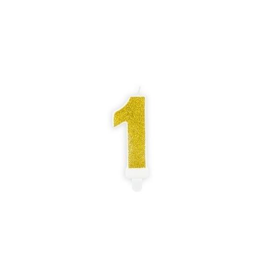 Świeczka urodzinowa Cyferka 1, złoty