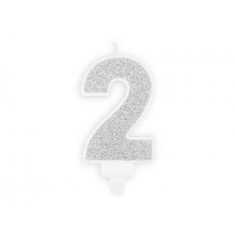 Świeczka urodzinowa Cyferka 2, srebrny