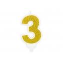Świeczka urodzinowa Cyferka 3, złoty