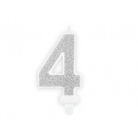 Świeczka urodzinowa Cyferka 4, srebrny