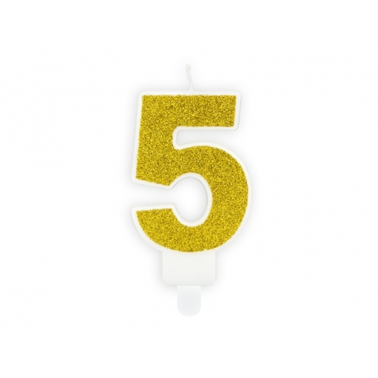 Świeczka urodzinowa Cyferka 5, złoty