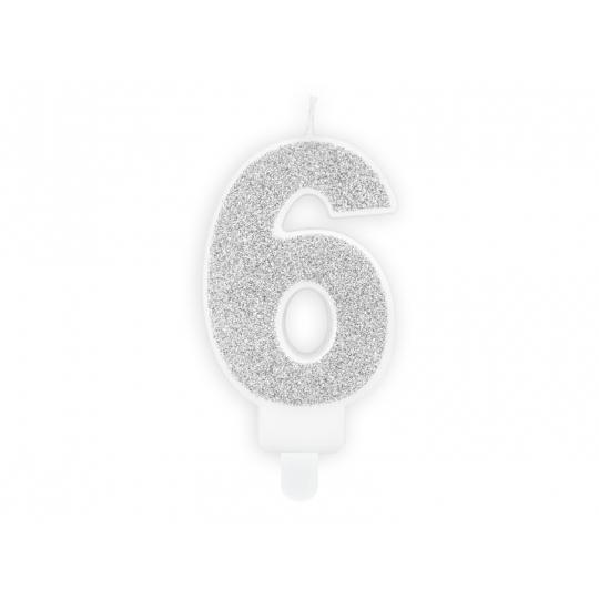 Świeczka urodzinowa Cyferka 6, srebrny