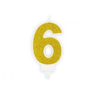 Świeczka urodzinowa Cyferka 6, złoty