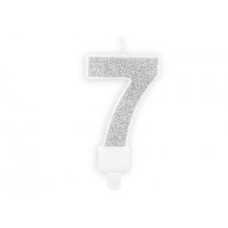 Świeczka urodzinowa Cyferka 7, srebrny