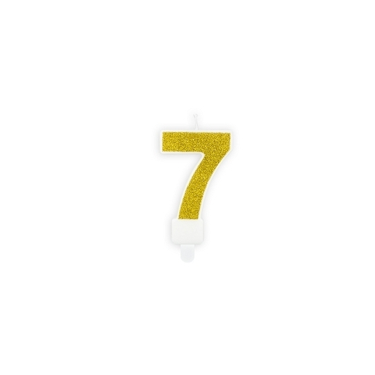 Świeczka urodzinowa Cyferka 7, złoty