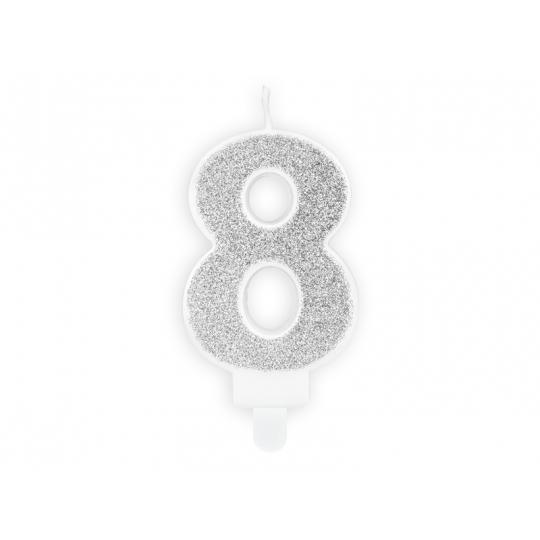 Świeczka urodzinowa Cyferka 8, srebrny