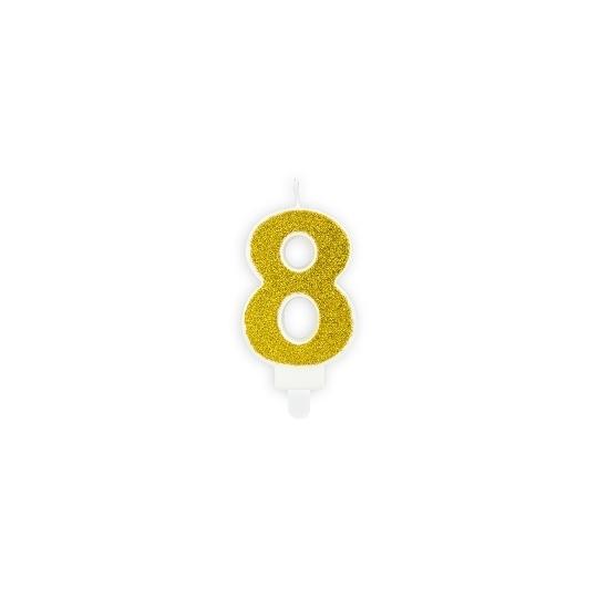Świeczka urodzinowa Cyferka 8, złoty