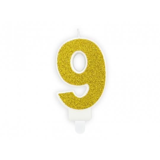 Świeczka urodzinowa Cyferka 9, złoty